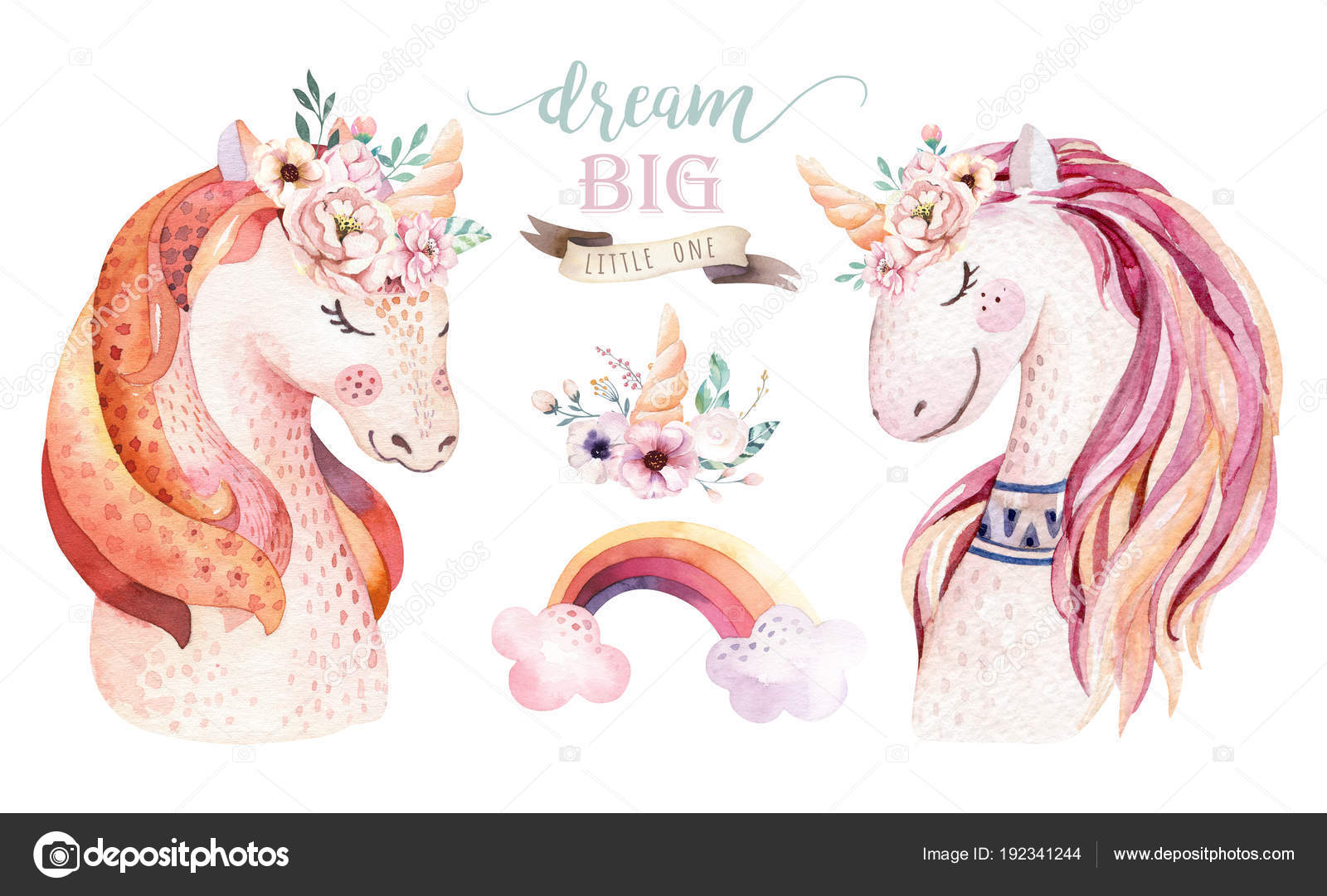 Cute pony clip art | Isolated cute watercolor unicorn