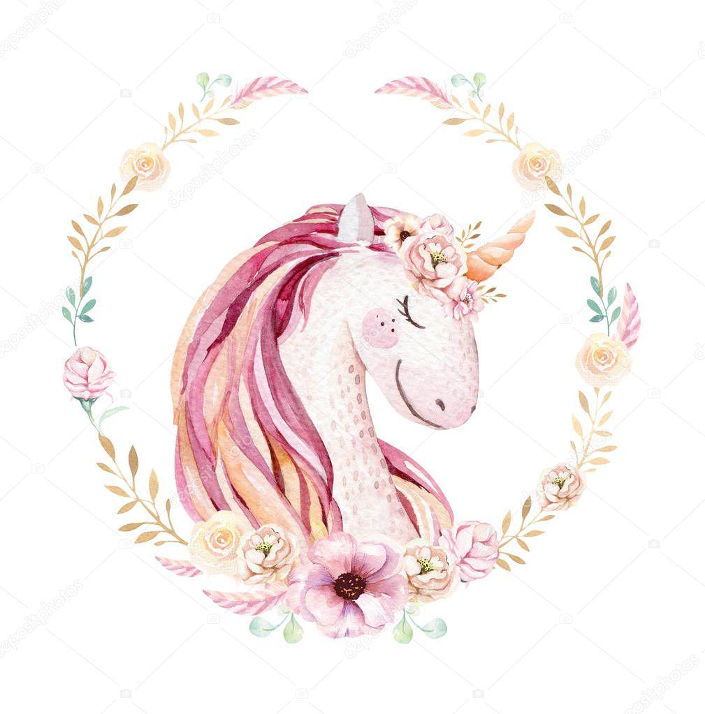 Isolated cute watercolor unicorn clipart with flowers. Nursery unicorns illustration. Princess rainbow poster. Trendy pink cartoon pony horse.