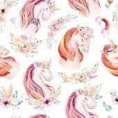 Fotografia Modello senza cuciture di unicorno Acquerello sveglio con i fiori. Modello: vivaio unicorno magico. Struttura del rainbow principessa. Cavallo pony rosa alla moda del fumetto