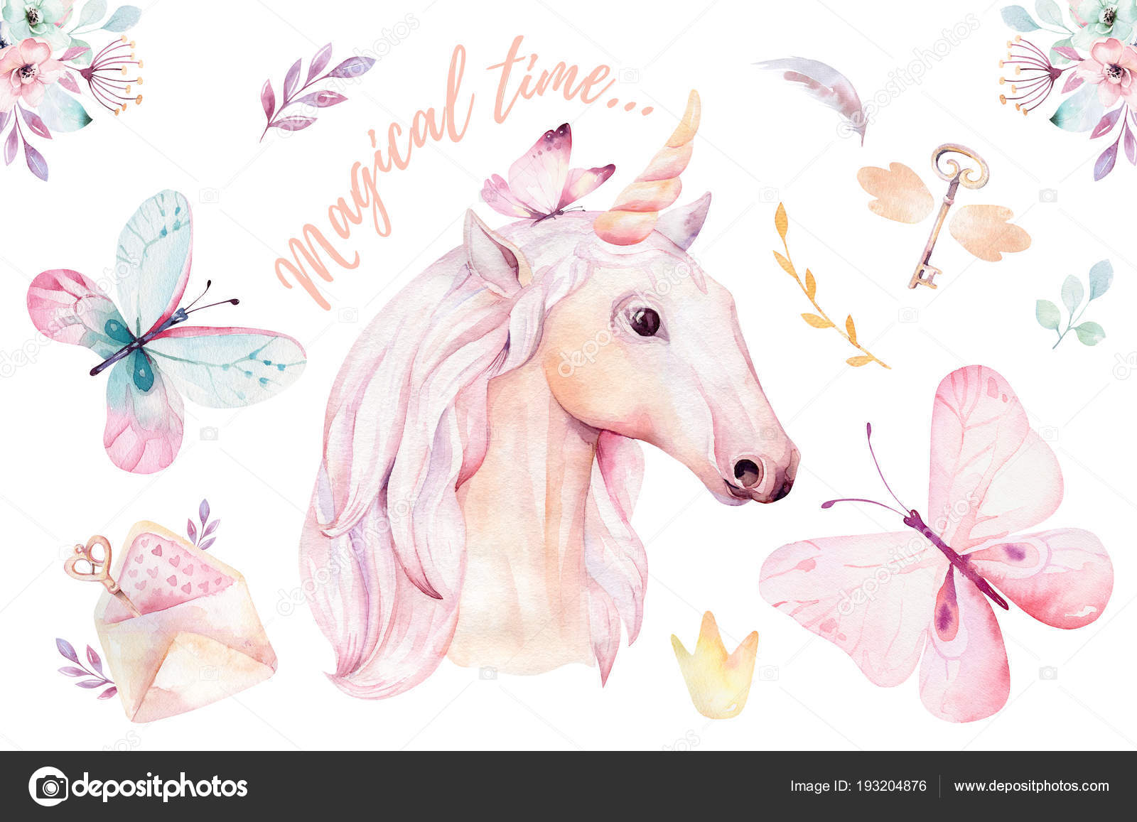 Isolated Cute Watercolor Unicorn Clipart Floral Details