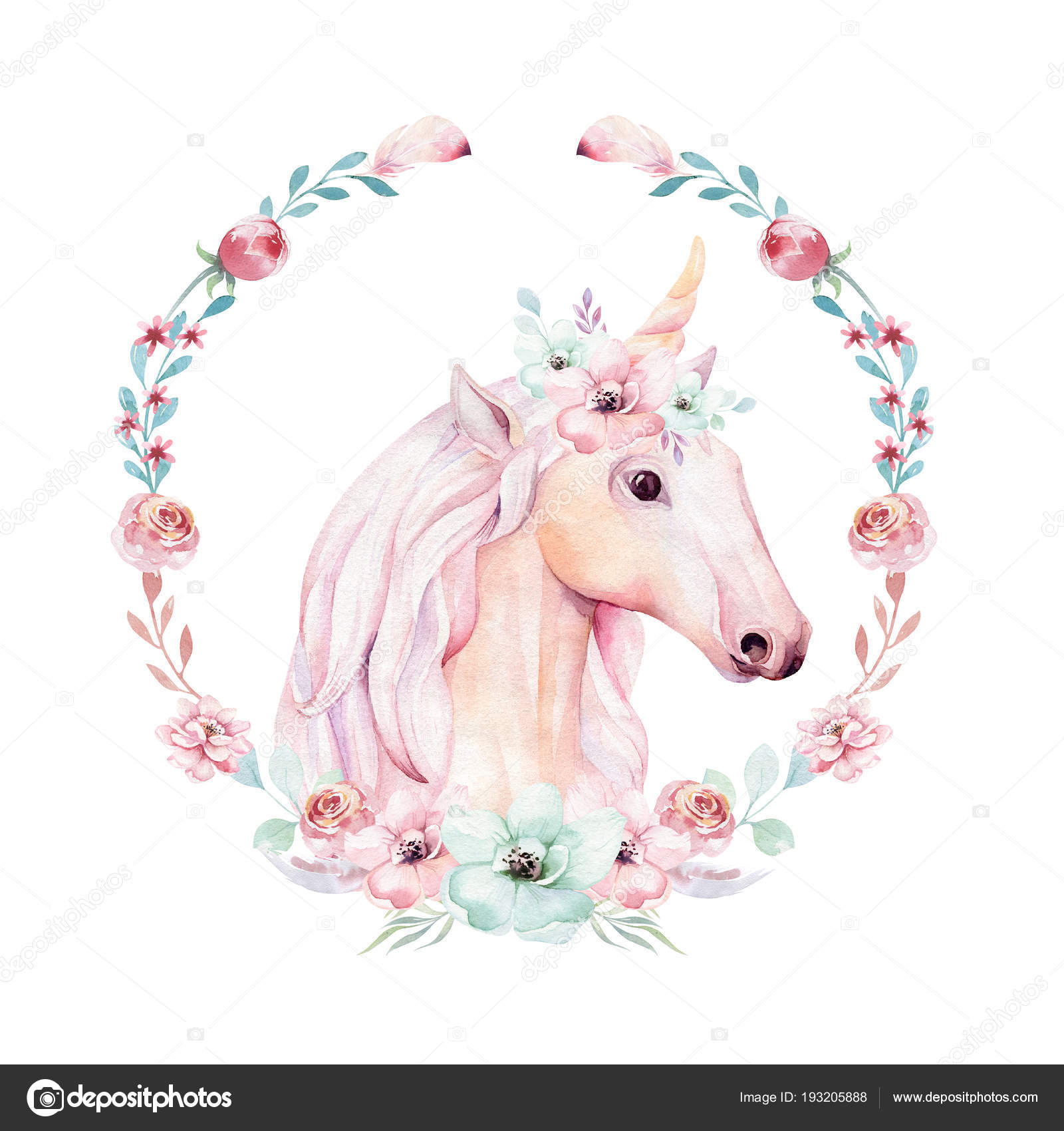 Isolated Cute Watercolor Unicorn Clipart Flower Wreath