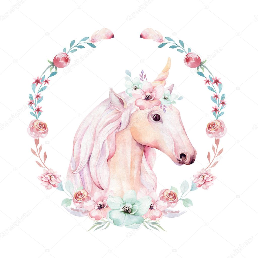 Isolated Cute Watercolor Unicorn Clipart Flower Wreath ...