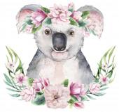 ein trendiges Plakat mit einem Koala. Aquarell Karikatur Koala tropischen Tier Illustration. Dschungel exotischer Sommerdruck.