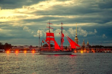Brig with scarlet sails on the river Neva.