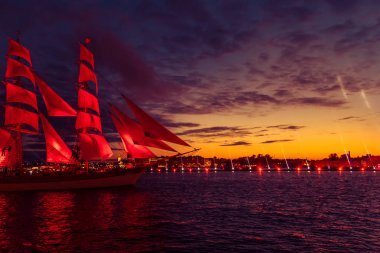 Ship with scarlet sails in the river Neva.