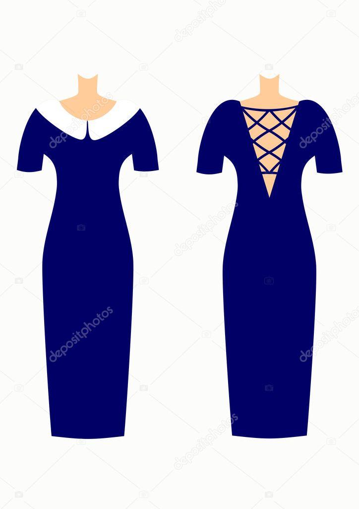 Hermosos vestidos elegantes para mujeres vector ilustración — Vector ...
