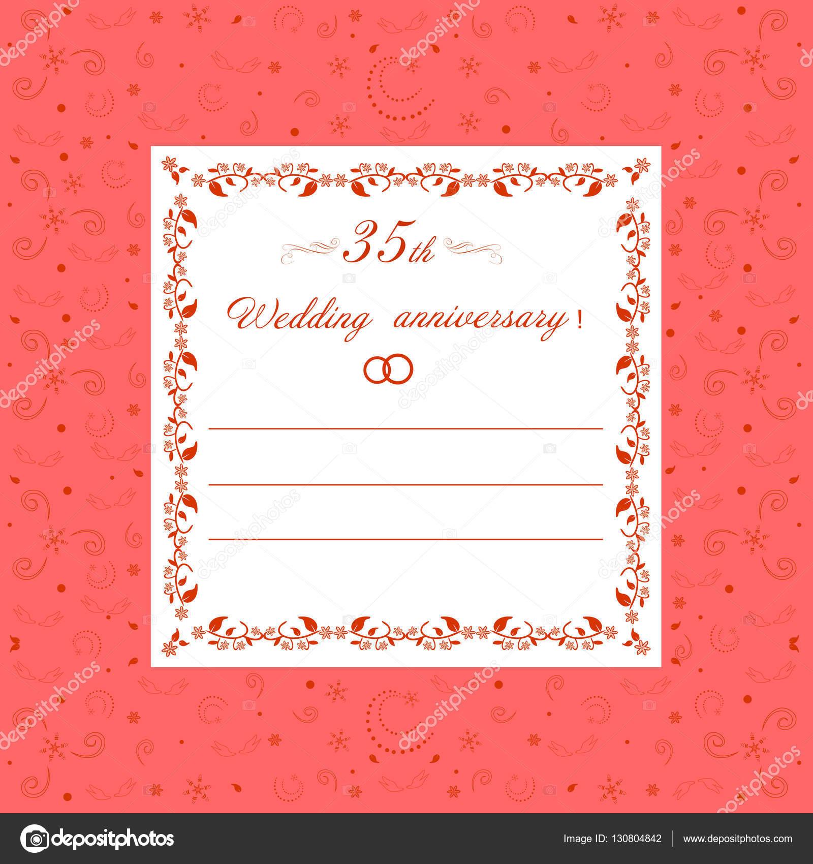 35 aniversario de boda invitación editable vector ilustración ...