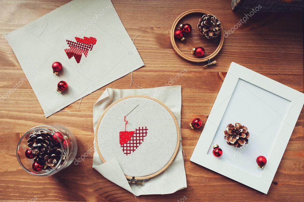 Boże Narodzenie Cross Stitch Wzory I Dekoracje Na Drewnianym