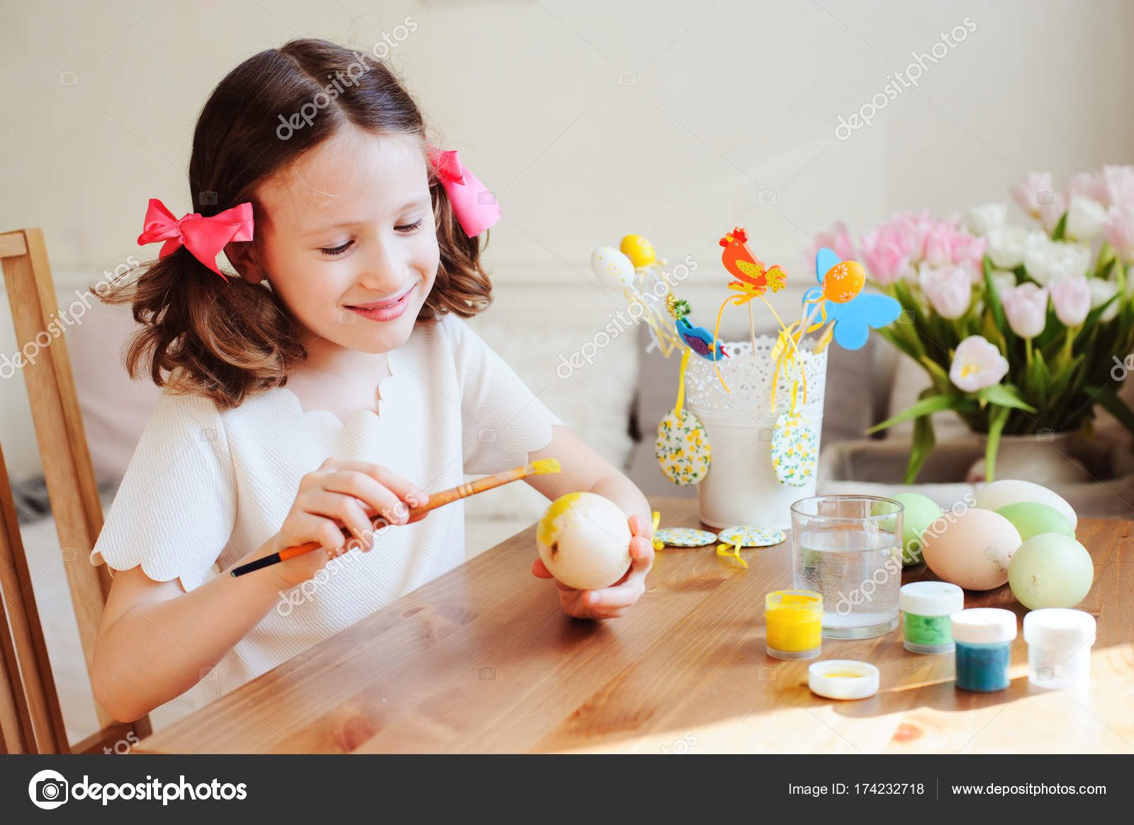 Easter Craft Kids Painting Eggs Home Seasonal Spring Decorations