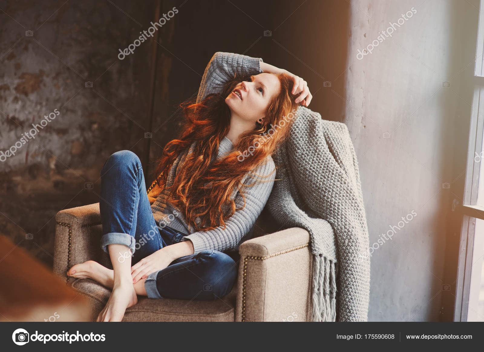 Young readhead woman relaxing home cozy chair dressed casual young readhead woman relaxing home cozy chair dressed casual sweater stock photo 175590608 voltagebd Images