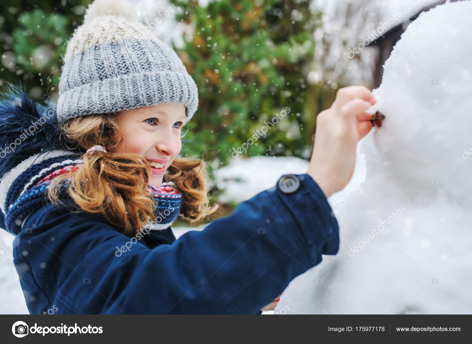 Happy Kid Girl Making Snow Man On Christmas Vacations Backyard Winter Outdoor Activities For Kids Photo By Mashiki