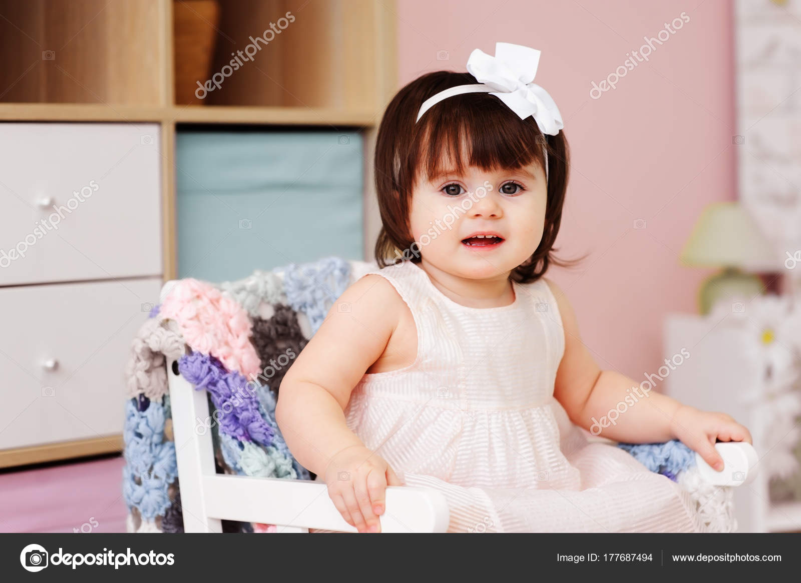 Cute Happy Year Old Baby Girl Playing Wooden Toys Home