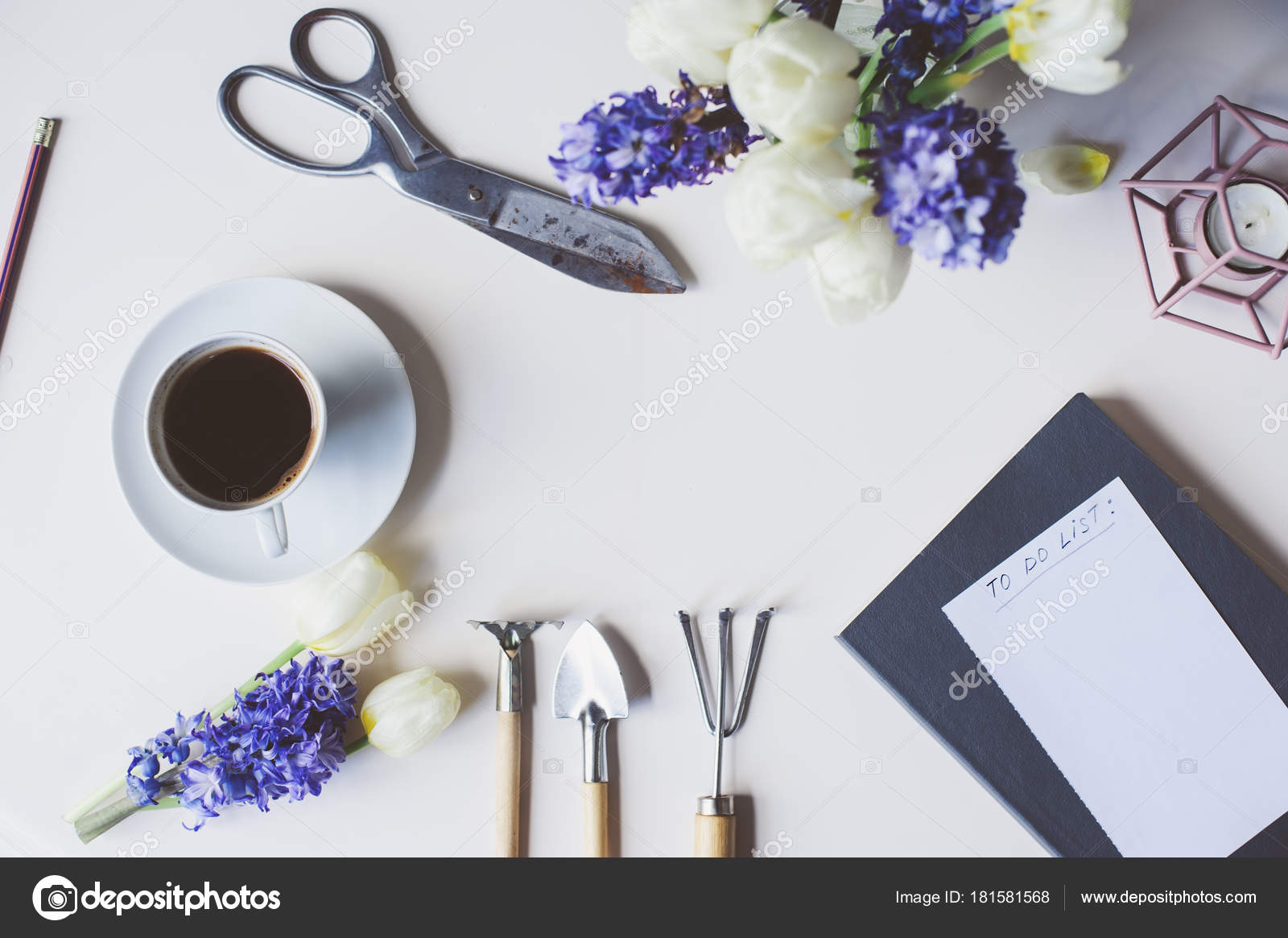 Spring gardener plan list table empty space white background flat spring gardener plan or to do list on table with empty space on white background flat lay top view seasonal composition with flowers garden tools mightylinksfo