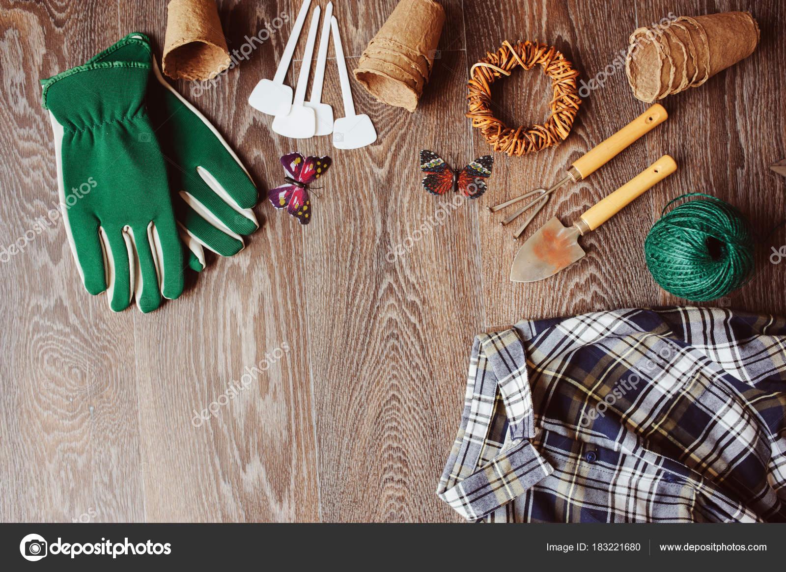 Spring Gardener Table Top View Tools Gloves Peat Pots Garden — Stock ...