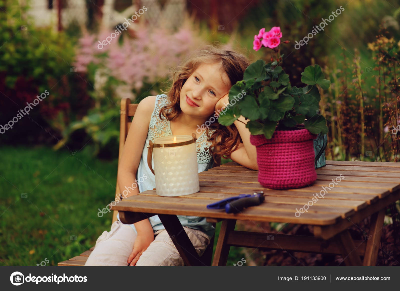 Happy Romantic Child Girl Dreaming Evening Summer Garden Decorated ...