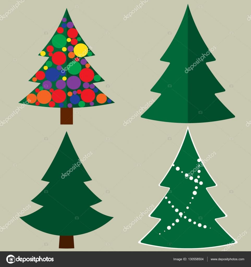 Rbol de navidad dibujos animados iconos conjunto signos - Imagenes arboles de navidad ...