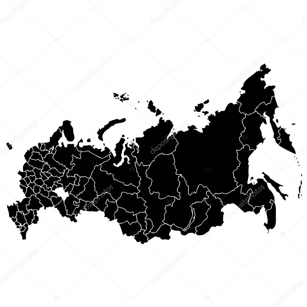 Map of Russia isolated on white background