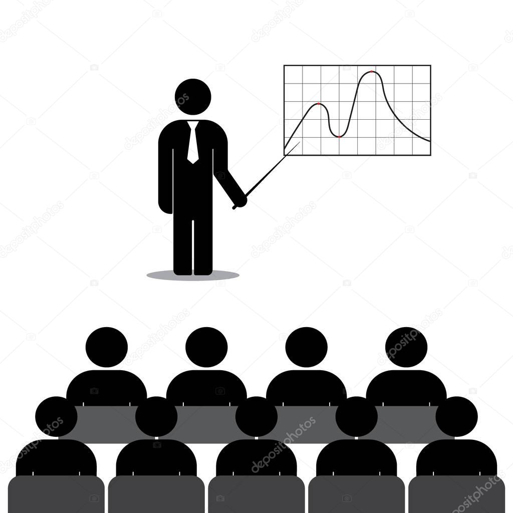 Manager shows a graph of employees