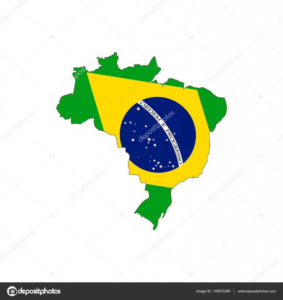 Brazil Map On A White Background Stock Vector Rokvel - Federative republic of brazil map