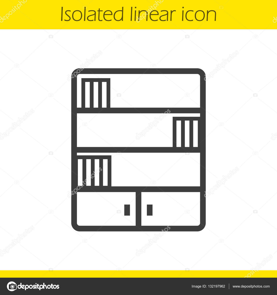 Boekenkast lineaire pictogram — Stockvector © bsd #132197962
