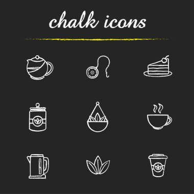 Tea shop icons set. Vector