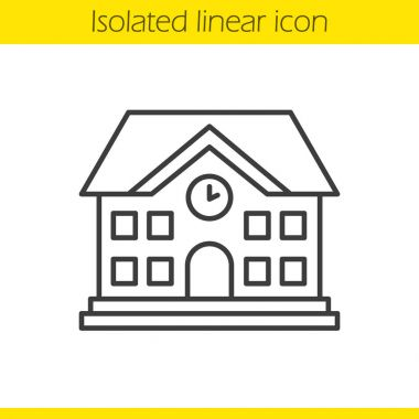 School building linear icon