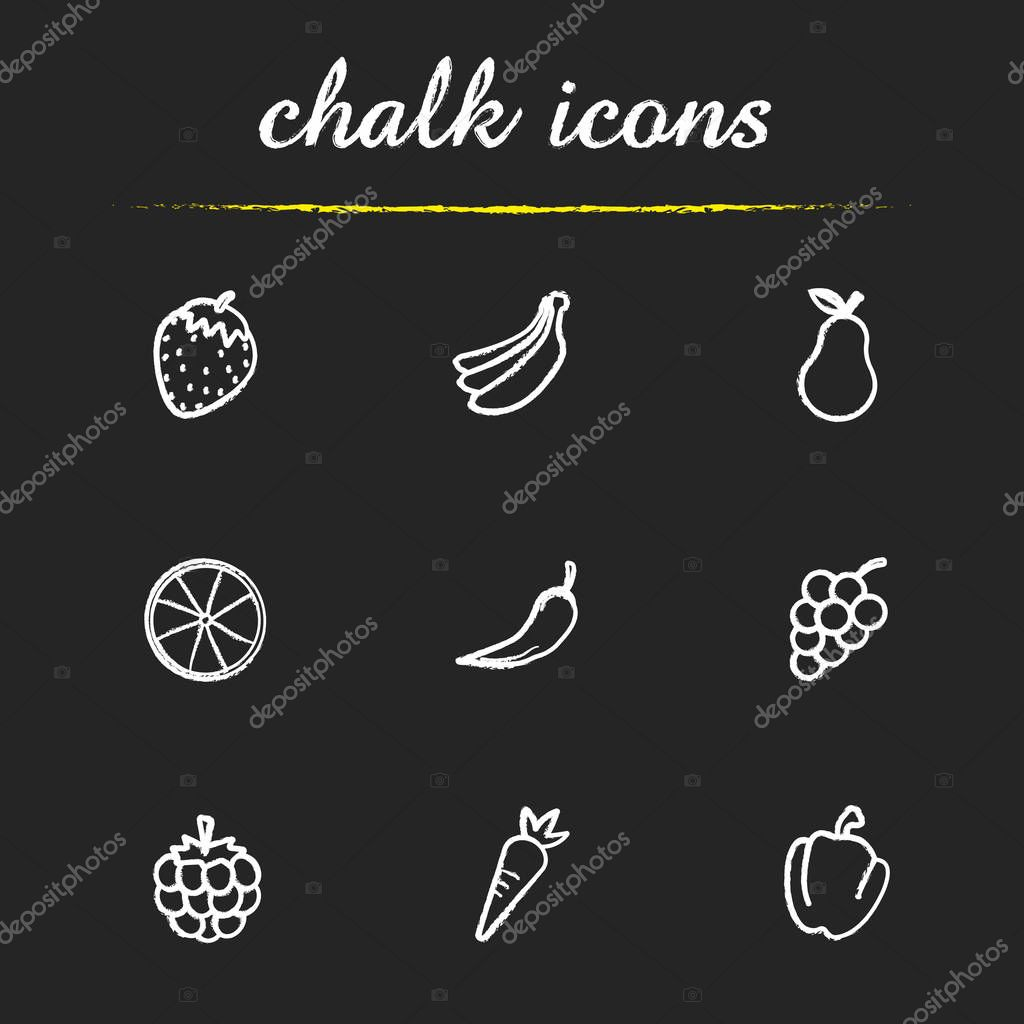 Fruit and vegetables icons set