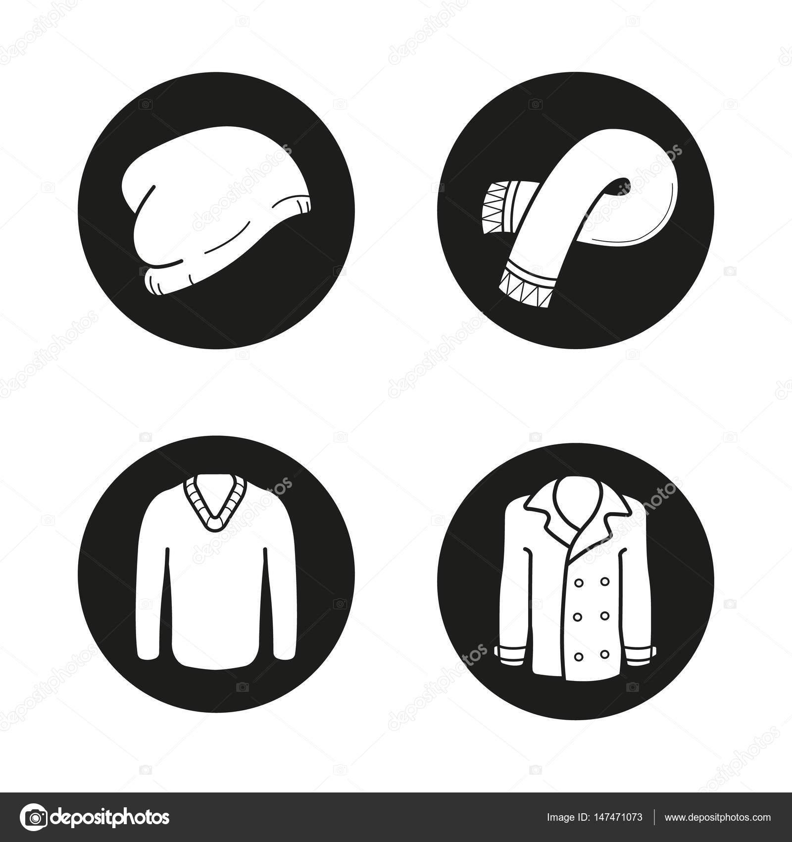 09c427cd0b2 Podzimní teplé oblečení ikony nastavit — Stock Vektor © bsd  147471073