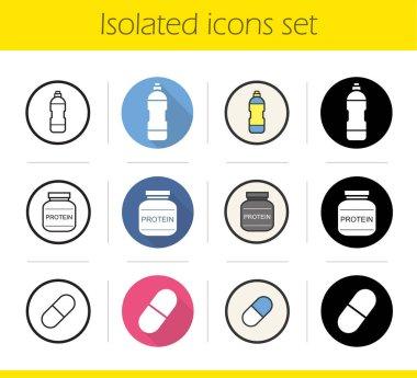 Sport supplies icons set
