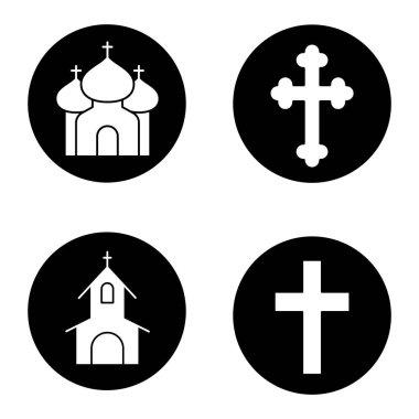 Christianity religion icons set