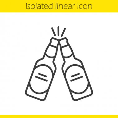 Toasting beer bottles icon