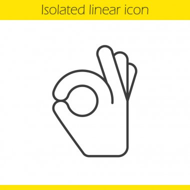 OK hand gesture linear icon