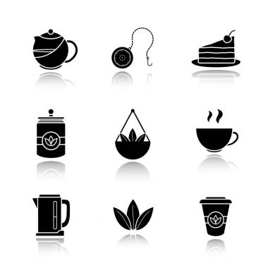Tea drop  icons set