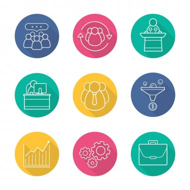 Business flat linear  icons set