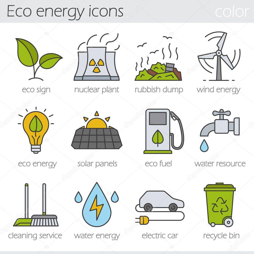 Eco energy  icons set