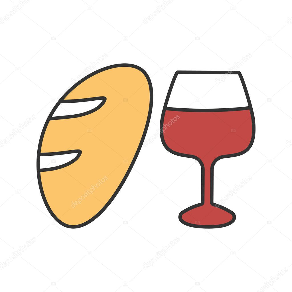 Wine and bread color icon