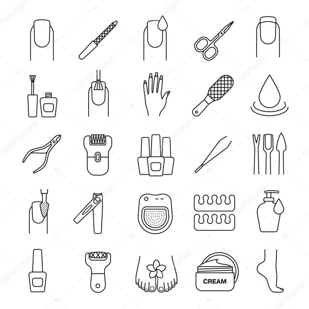 Manicure and pedicure icons set