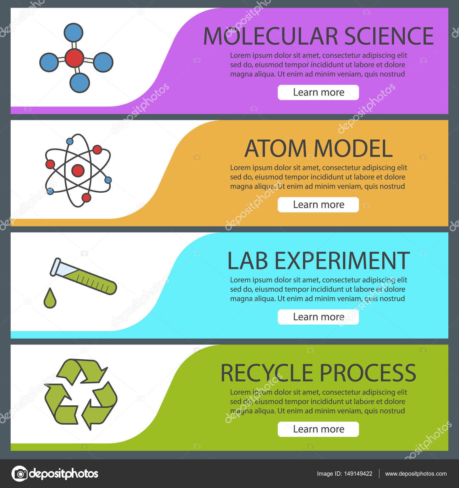 Conjunto de plantillas de banner de laboratorio de ciencia — Vector ...