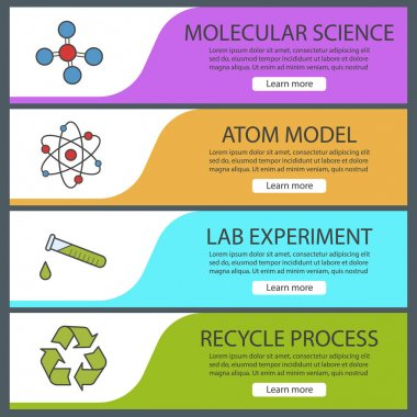Science laboratory banner templates set