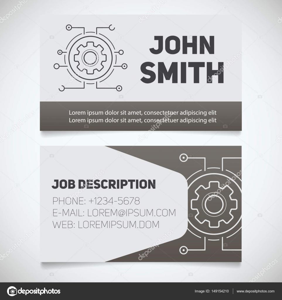 Visitenkarten Druckvorlage Mit Zahnrad Logo Stockvektor
