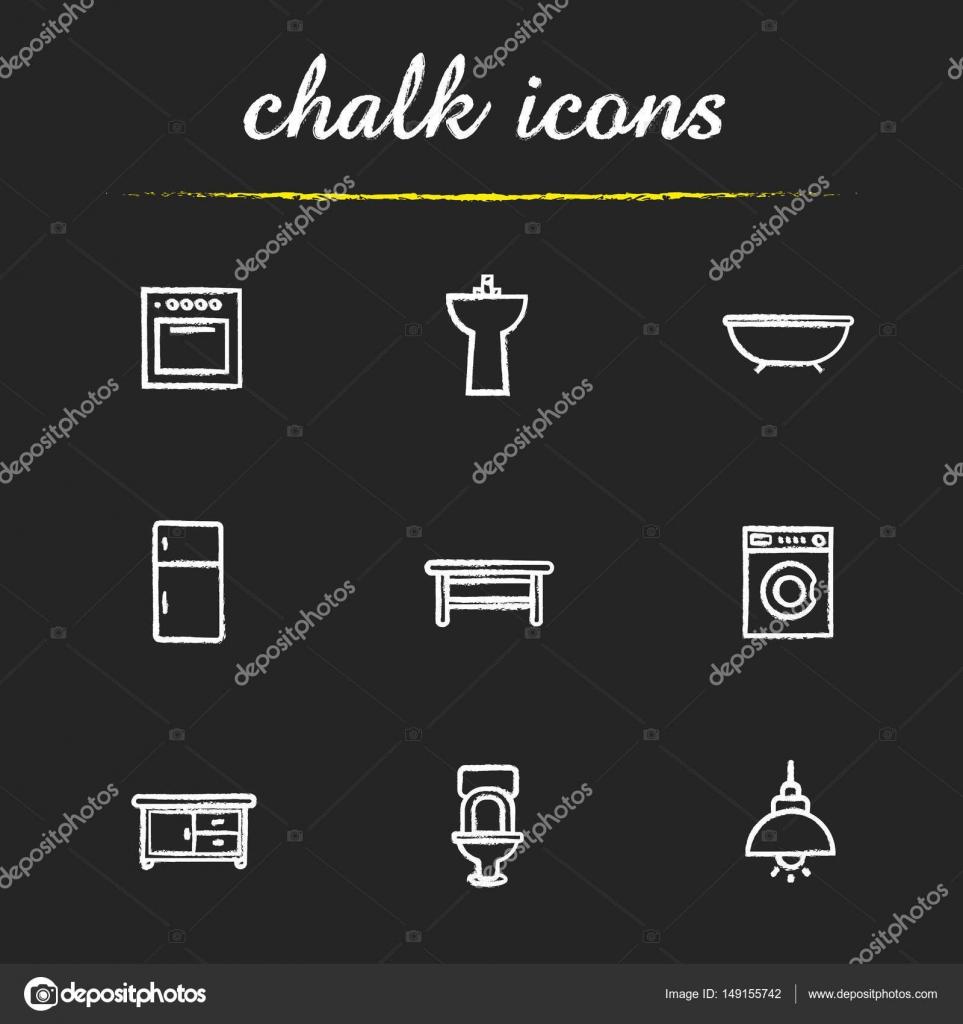 sistema de iconos de tiza de muebles de cocina y baño ? vector de ... - Muebles De Cocina Y Bano