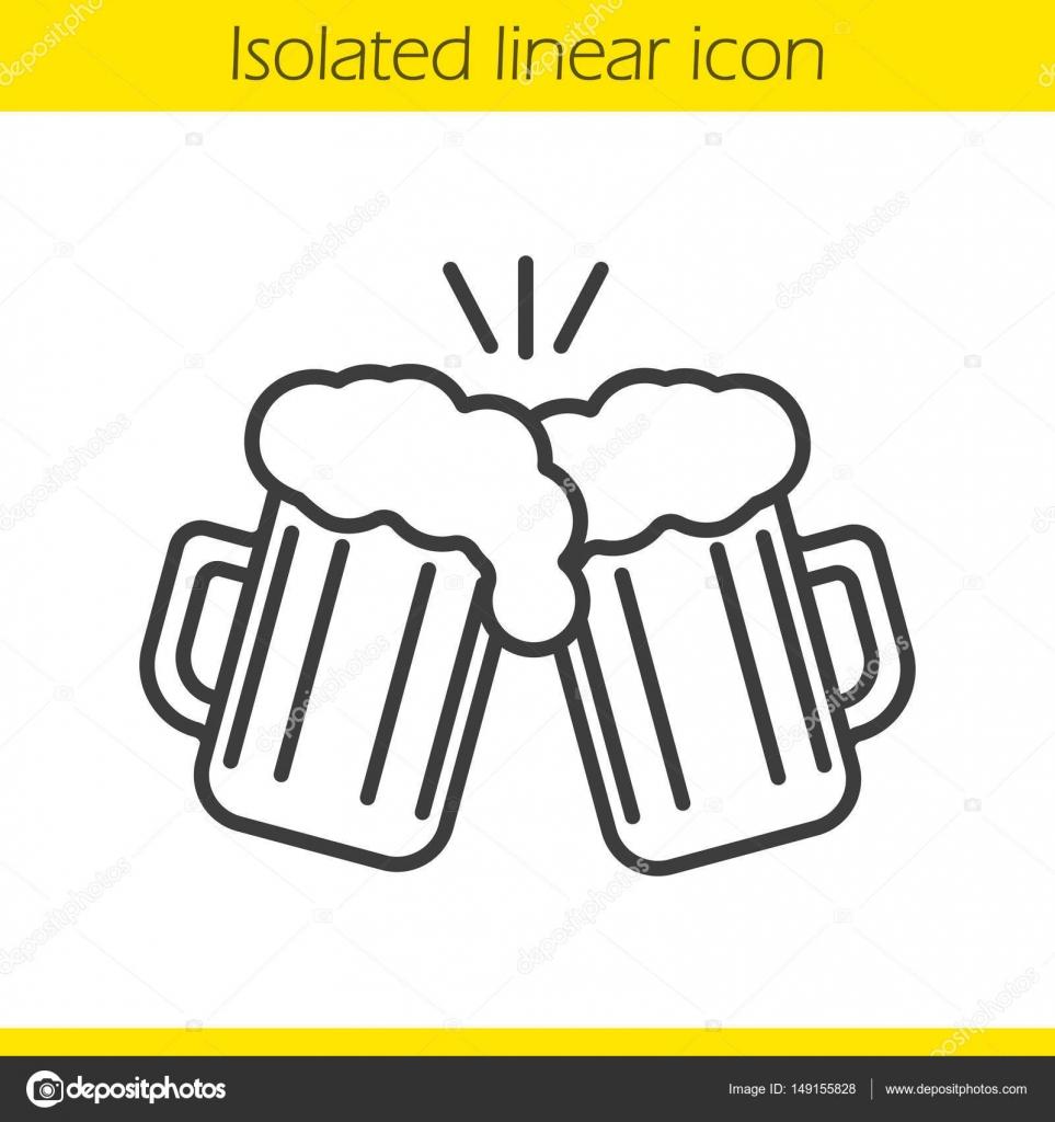 brindando o ícone linear de copos de cerveja vetor de stock bsd