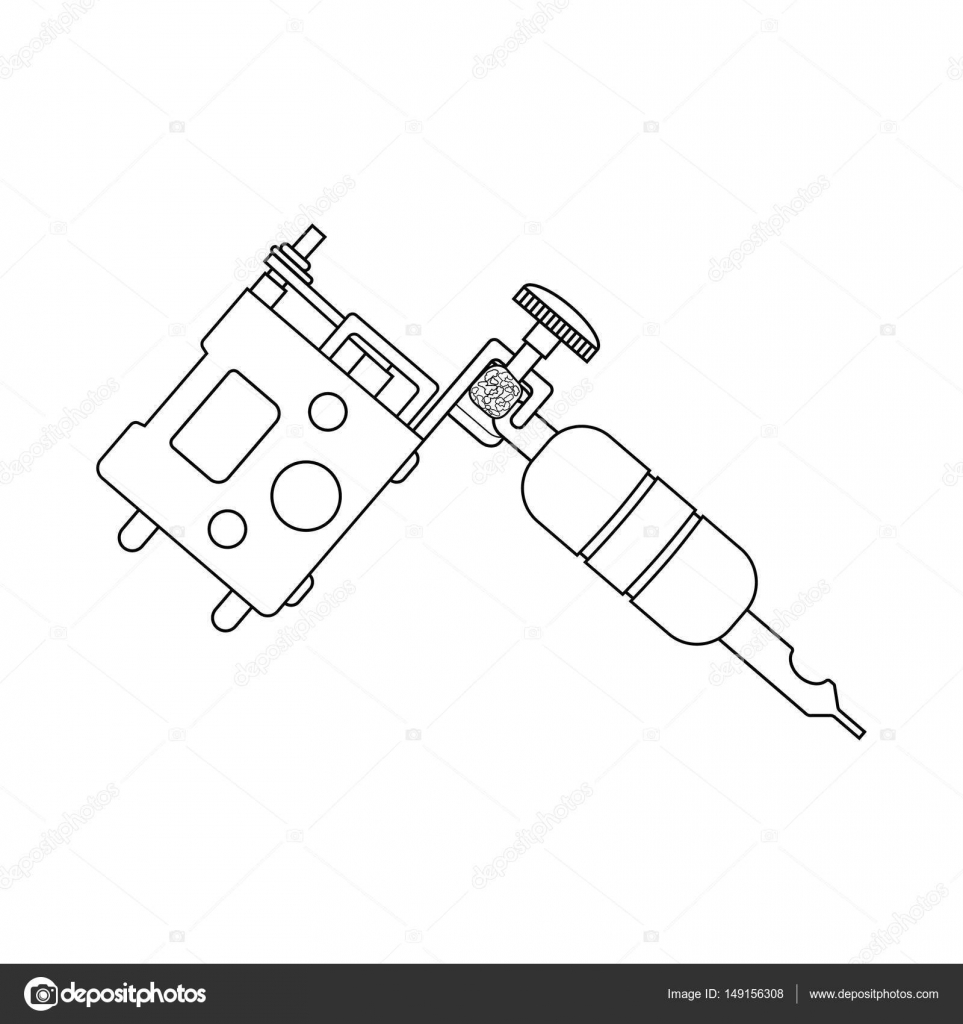 Tattoo Machine Linear Drawing Stock Vector Bsd 149156308 Machines Diagram Pictures Thin Line Illustration Gun Contour Symbol Isolated Outline By