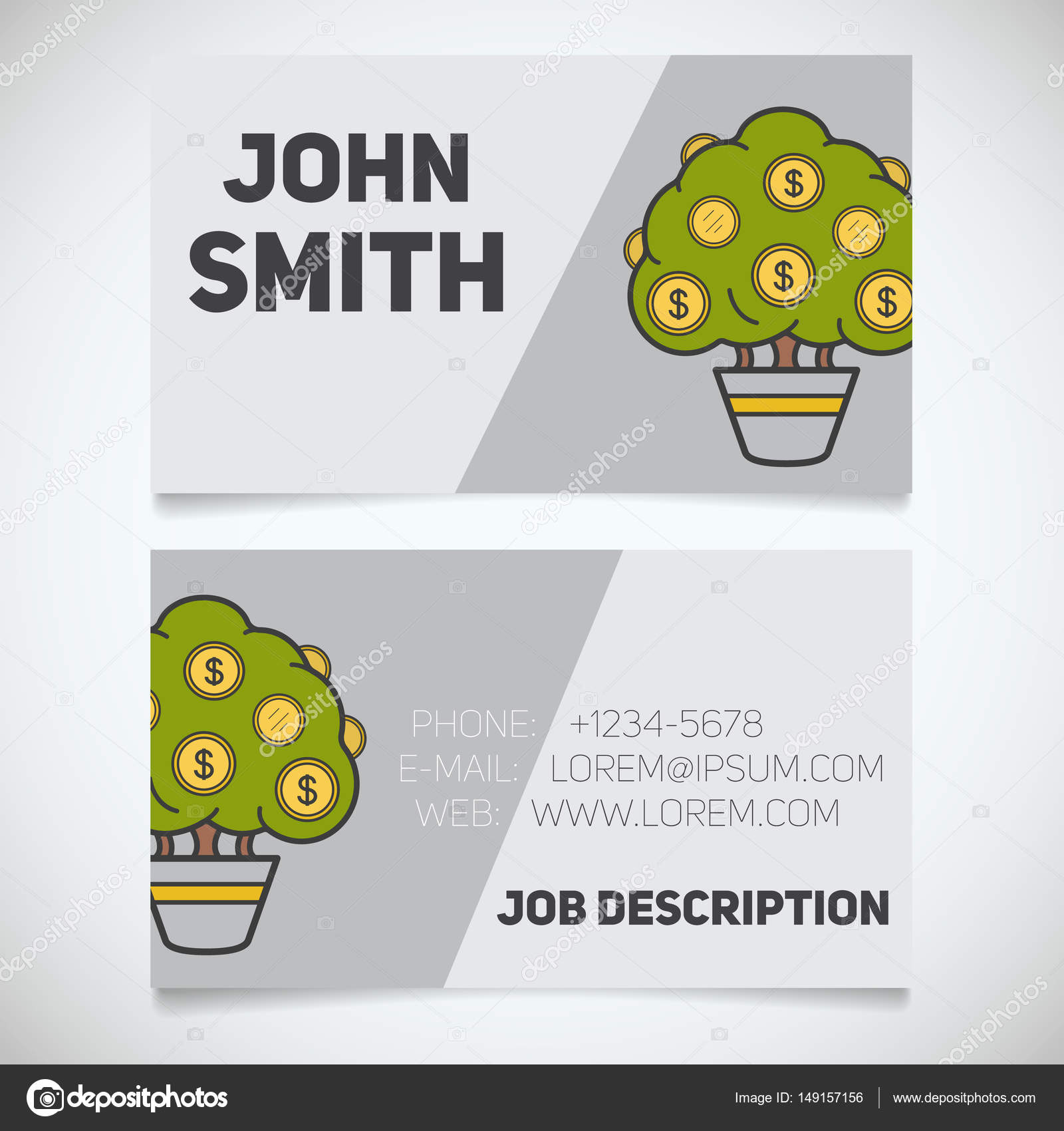 Business card print template with money tree logo — Stock Vector ...