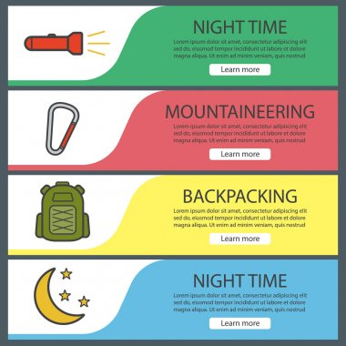 Hiking and mountaineering banner templates set