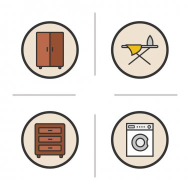 Furniture color icons set