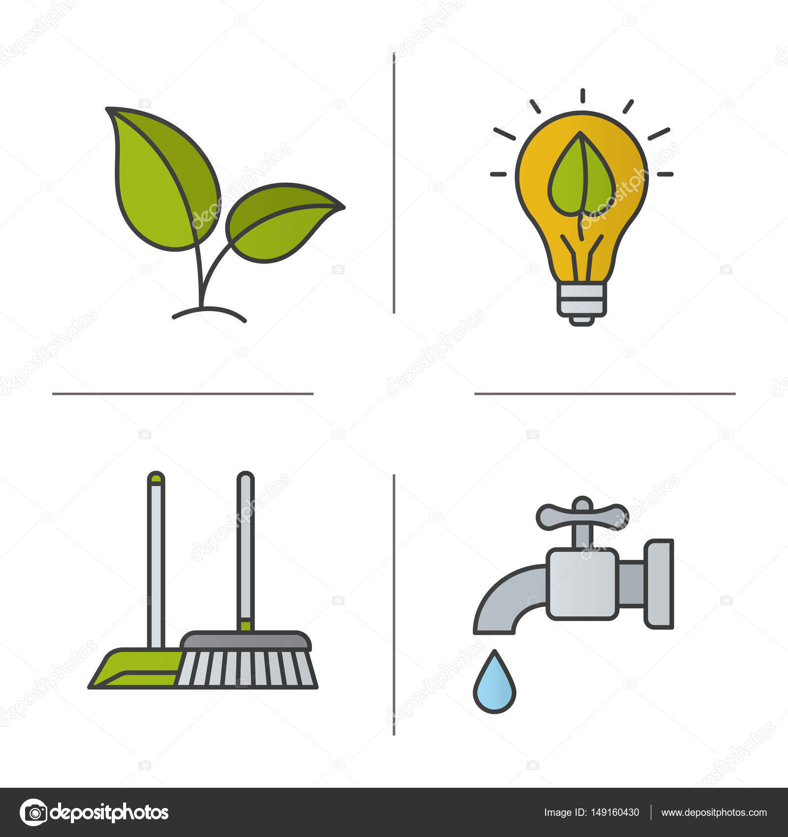 Dibujos Del Cuidado Del Medio Ambiente A Color Conjunto De Iconos