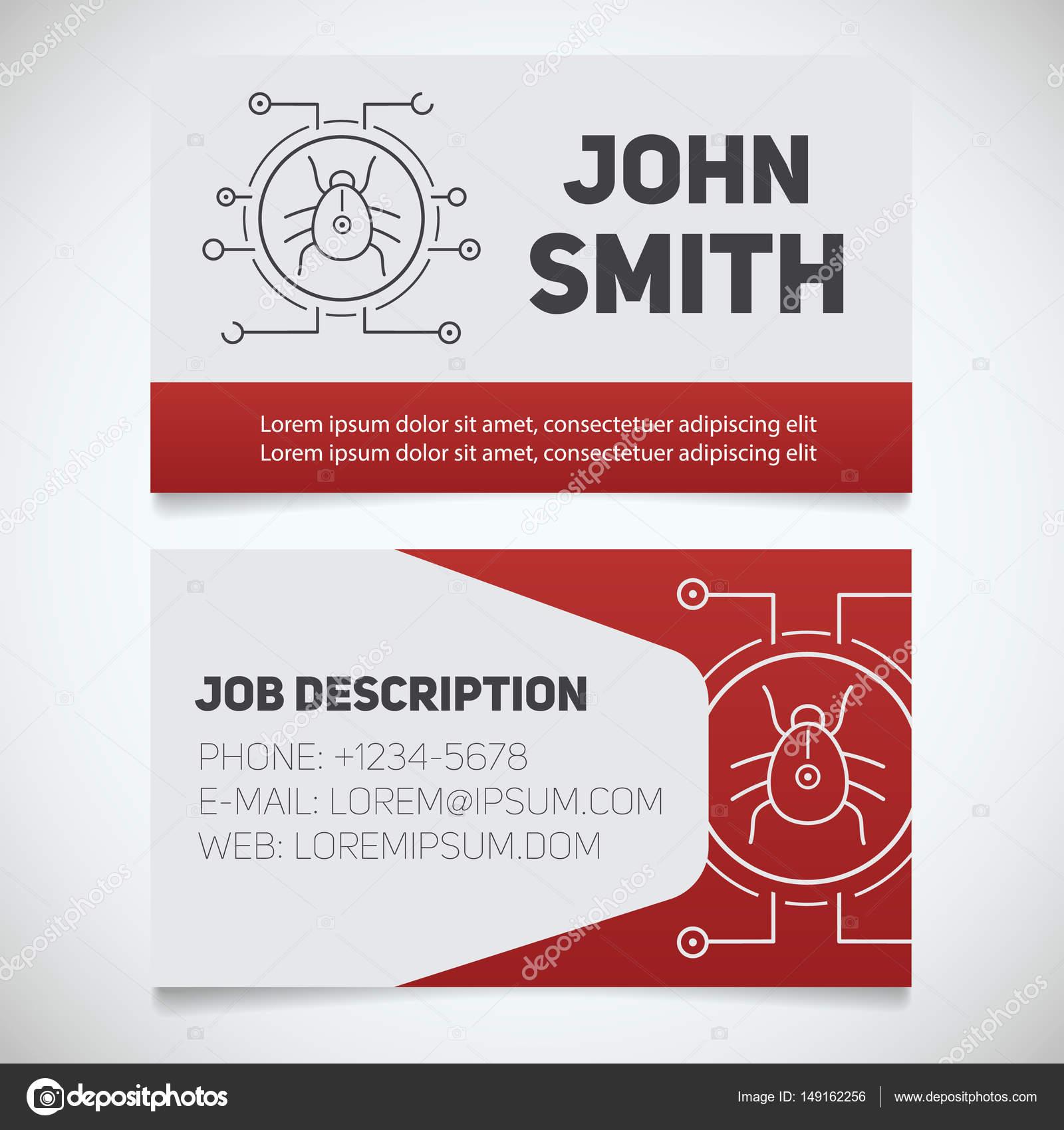 Modle Dimpression Carte De Visite Avec Logo Bogue Virus Informatique Facile Dditer Programmeur Cyber Scurit Concept Design Papeterie