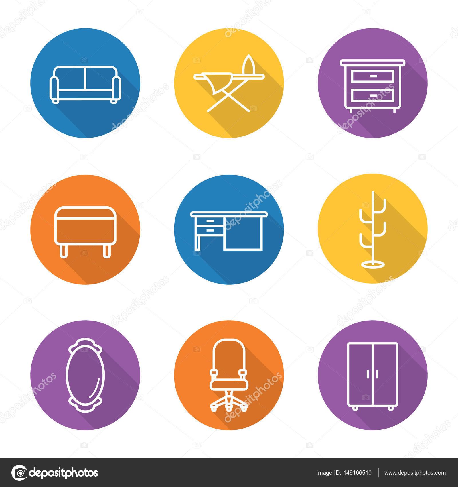 Muebles plano lineal larga sombra iconos conjunto — Vector de stock ...