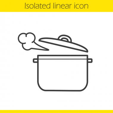 Steaming pot linear icon
